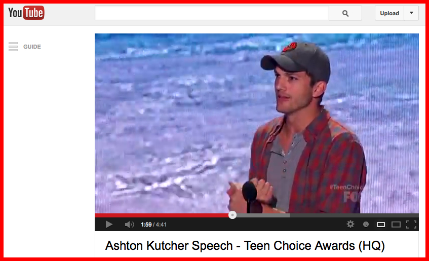 Ashton Kutcher YouTube screenshot